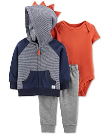 Carter's Baby Boys 3-Pc. Dino Spike Jacket Set