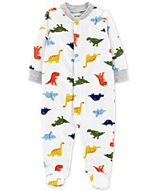 Baby Boys Dinosaurs Snap-Up Fleece Coveralls
