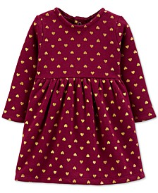 Baby Girls Heart-Print Fleece Dress