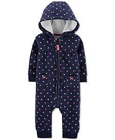 Baby Girls Heart-Print Fleece Hooded Coverall