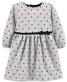 Baby Girls Dot-Print Fleece Dress