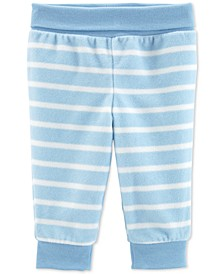 Baby Boys Striped Pull-On Fleece Pants