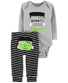 Baby Boys 2-Pc. Cotton Frankenstein Bodysuit & Striped Pants Set