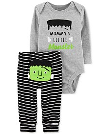 Carter's Baby Boys 2-Pc. Cotton Frankenstein Bodysuit & Striped Pants Set