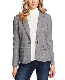 Plaid Ruffle-Trim Blazer