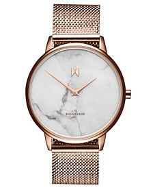 Boulevard Malibu Marble Rose Gold-Tone Stainless Steel Mesh Strap Watch 38mm