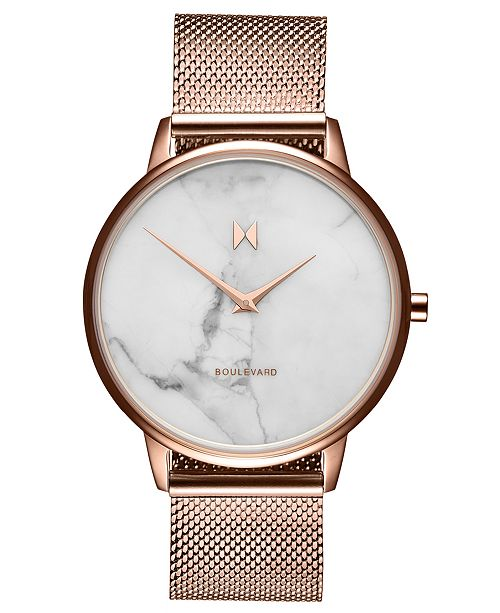 MVMT Boulevard Malibu Marble Rose Gold-Tone Stainless Steel Mesh Strap Watch 38mm