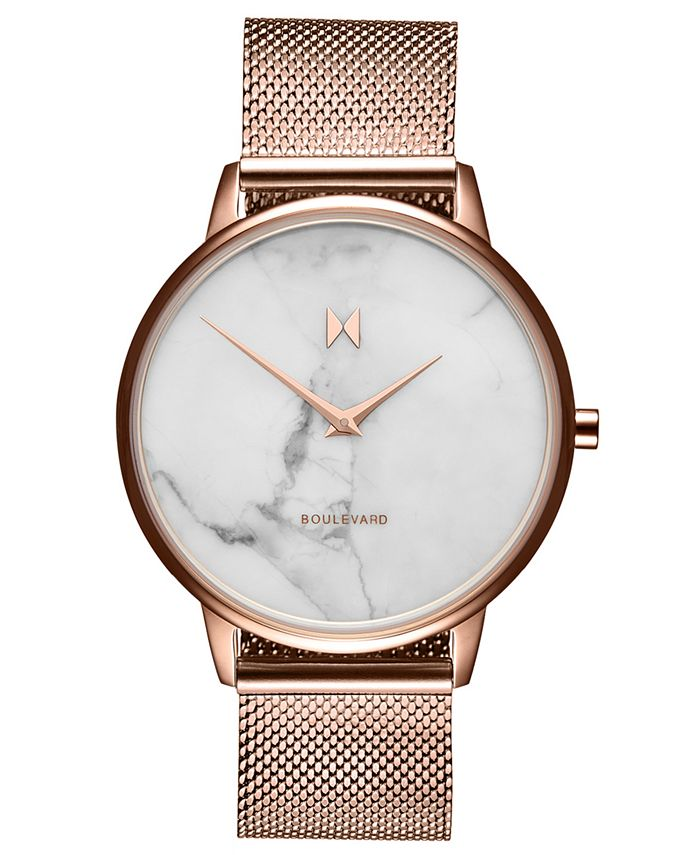 MVMT - Women's Boulevard Malibu Marble Rose Gold-Tone Stainless Steel Mesh Strap Watch 38mm