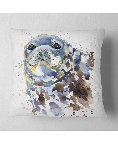 "Design Art Designart Blue Marine Seal Watercolor Contemporary Animal Throw Pillow - 18"" X 18"""