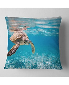 "Designart Large Hawksbill Sea Turtle Abstract Throw Pillow - 18"" X 18"""