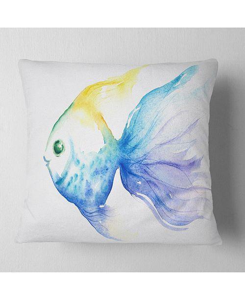 "Design Art Designart Lovely Blue Fish Watercolor Abstract Throw Pillow - 16"" X 16"""