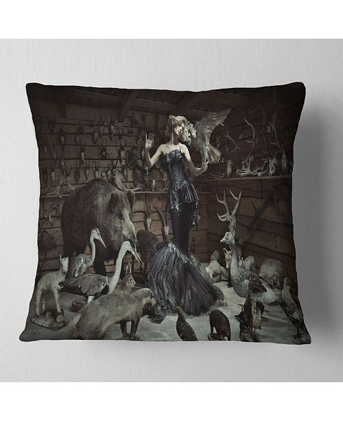 "Design Art Designart Woman Among Wild Animals Animal Throw Pillow - 16"" X 16"""