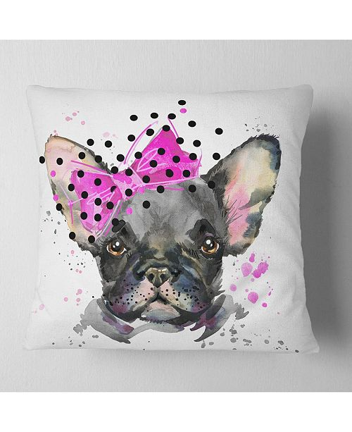 "Design Art Designart Serious French Bulldog Watercolor Animal Throw Pillow - 18"" X 18"""