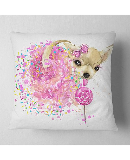 "Design Art Designart Sweet Pink Dog Without Glasses Animal Throw Pillow - 16"" X 16"""