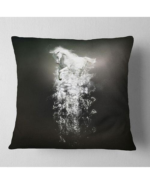 "Design Art Designart Fantasy White Horse Running Animal Throw Pillow - 18"" X 18"""