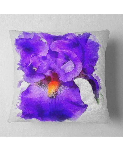 """Design Art Designart Blue Iris Flower Sketch Watercolor Floral Throw Pillow - 18"""" X 18"""""""