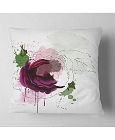"Designart Purple Rose Sketch Watercolor Floral Throw Pillow - 16"" X 16"""