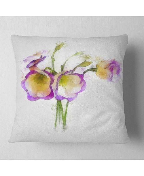 "Design Art Designart Eustoma Flowers Watercolor Sketch Floral Throw Pillow - 18"" X 18"""