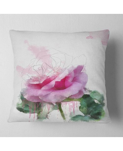 "Design Art Designart Pink Rose Stem With Paint Splashes Floral Throw Pillow - 16"" X 16"""