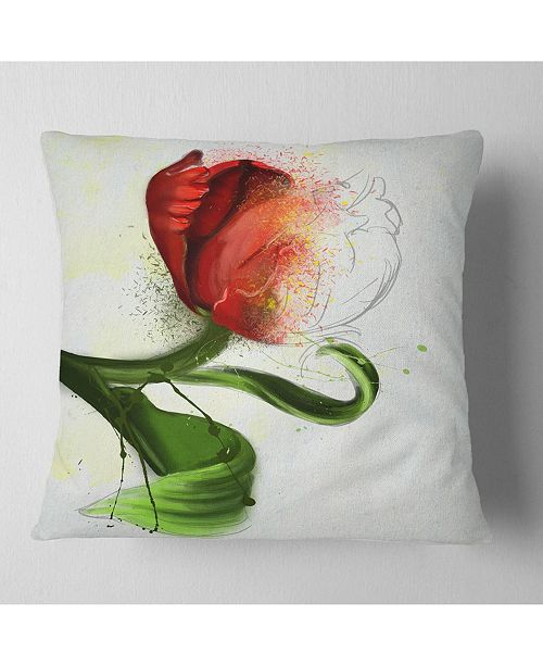 """Design Art Designart Big Red Flower With Green Leaves Floral Throw Pillow - 18"""" X 18"""""""