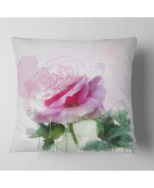 "Design Art Designart Pink Rose Sketch With Green Leaves Floral Throw Pillow - 16"" X 16"""