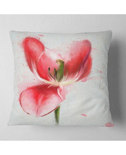 "Design Art Designart Wonderful Red Poppy Watercolor Floral Throw Pillow - 18"" X 18"""