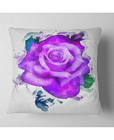 "Designart Hand Made Purple Rose Watercolor Floral Throw Pillow - 18"" X 18"""