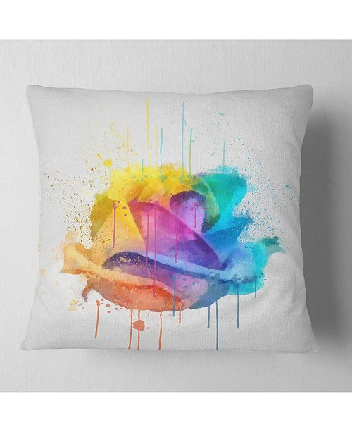 "Design Art Designart Multicolor Rose With Color Splashes Floral Throw Pillow - 16"" X 16"""