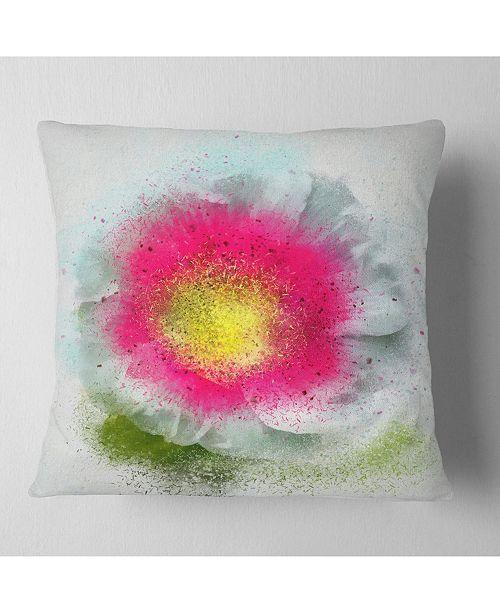 "Design Art Designart Large Red Poppy Flower On White Floral Throw Pillow - 18"" X 18"""