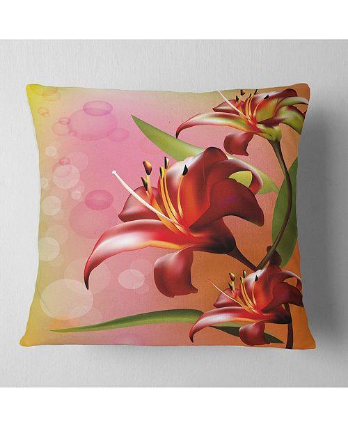 """Design Art Designart Beautiful Vector Flower On Pink Flowers Throw Pillowwork - 16"""" X 16"""""""