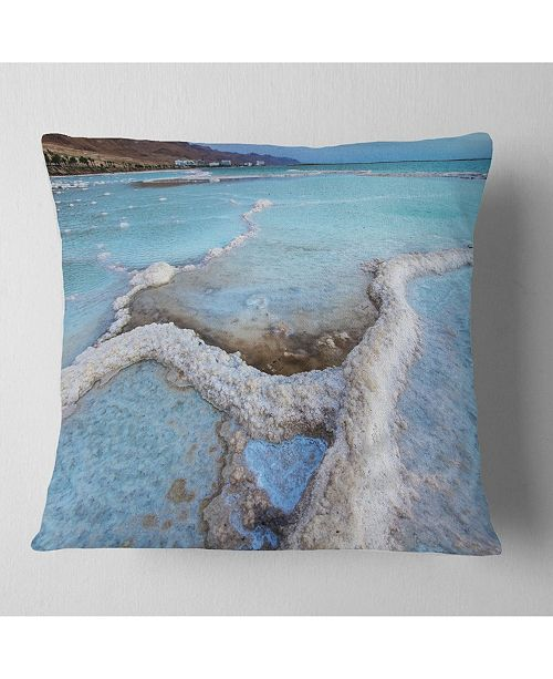 "Design Art Designart Beautiful Coast Of The Dead Sea Beach Throw Pillow - 16"" X 16"""
