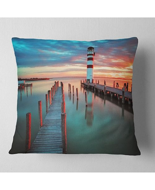 """Design Art Designart Lighthouse At Lake In Neusiedl Am See Landscape Printed Throw Pillow - 18"""" X 18"""""""