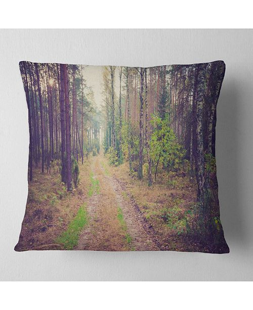 "Design Art Designart Straight Pathway In Thick Forest Modern Forest Throw Pillow - 18"" X 18"""