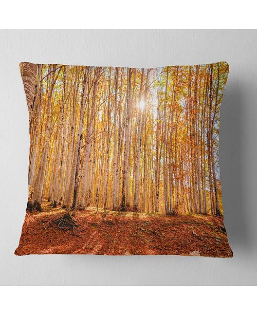 """Design Art Designart Colorful Red Forest At Sunset Modern Forest Throw Pillow - 18"""" X 18"""""""