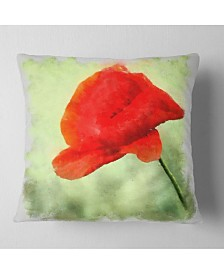 """Designart Big Red Poppy Flower Watercolor Floral Throw Pillow - 18"""" X 18"""""""
