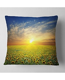 """Designart Beauty Sunset Over Sunflowers Field Floral Throw Pillow - 18"""" X 18"""""""