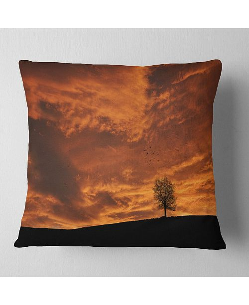"Design Art Designart Lonely Tree Under Brown Sky Landscape Printed Throw Pillow - 16"" X 16"""