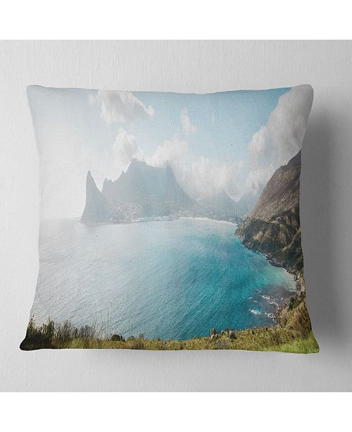 "Design Art Designart Hout Bay From Chapman Peak Seashore Photo Throw Pillow - 16"" X 16"""