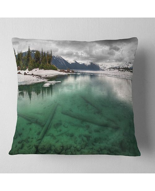 """Design Art Designart Crystal Clear Lake And Mountains Landscape Printed Throw Pillow - 16"""" X 16"""""""