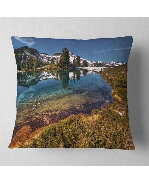 "Design Art Designart Curving Mountain Lake Shore Landscape Printed Throw Pillow - 16"" X 16"""