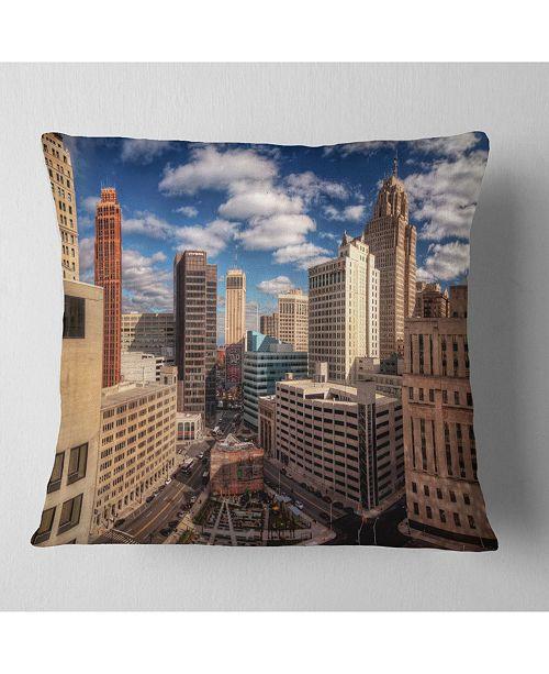 "Design Art Designart Amazing Urban City With Skyline Throw Pillow - 16"" X 16"""