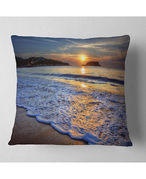 "Design Art Designart Calm Seashore With Blue Waves Seashore Throw Pillow - 16"" X 16"""