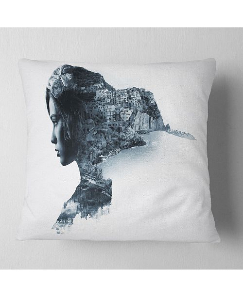 "Design Art Designart Woman Portrait Double Exposure Portrait Throw Pillow - 16"" X 16"""