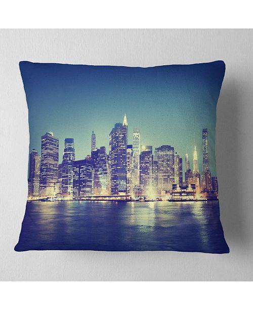 """Design Art Designart New York City Evening Panorama Throw Pillow - 18"""" X 18"""""""