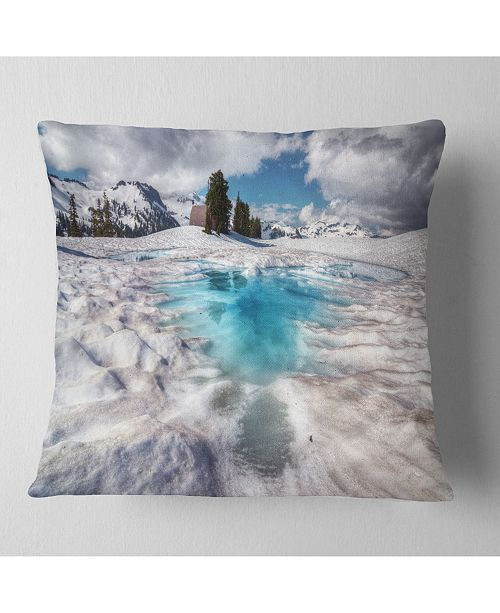 "Design Art Designart Beautiful Snow Covered Lake Landscape Printed Throw Pillow - 16"" X 16"""