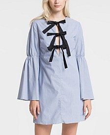Ribbon Knot Dress with Shirred Sleeve