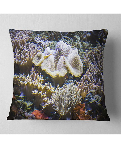 "Design Art Designart Beautiful Seabed With Fish Landscape Printed Throw Pillow - 18"" X 18"""