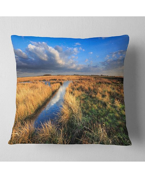 "Design Art Designart Beautiful Meadow With Blue Sky Landscape Printed Throw Pillow - 18"" X 18"""