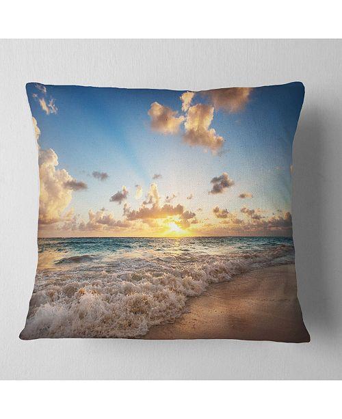 "Design Art Designart Sunrise On Beach Of Caribbean Sea Seashore Throw Pillow - 18"" X 18"""
