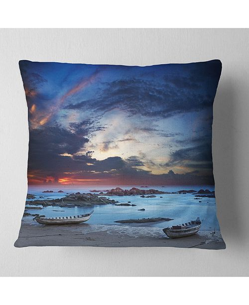 """Design Art Designart Colorful Traditional Asian Boats Landscape Printed Throw Pillow - 18"""" X 18"""""""